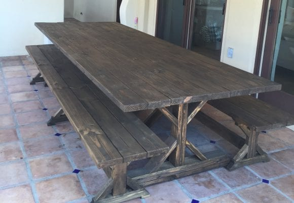10 Foot Restoration Hardware Style Table and Benches for Exclusive Home